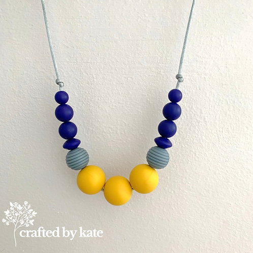 Mustard and navy teething necklace