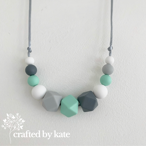Grey and mint teething necklace