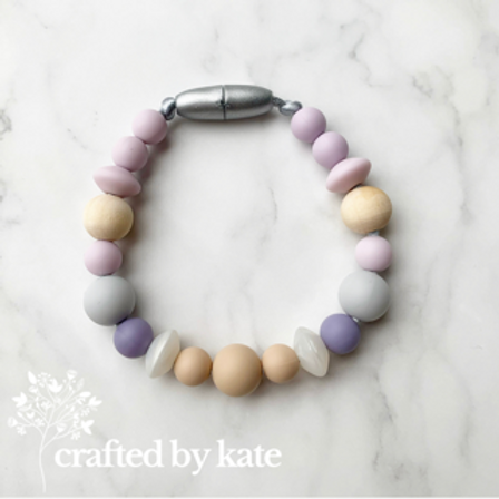 Lilac and oatmeal bracelet