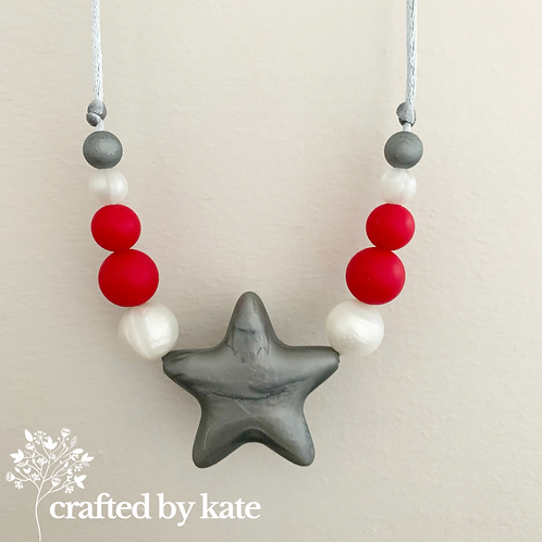 Silver star, red and pearl silicone beaded necklace