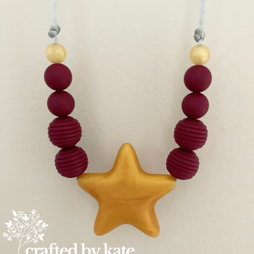 Plum and gold star teething necklace