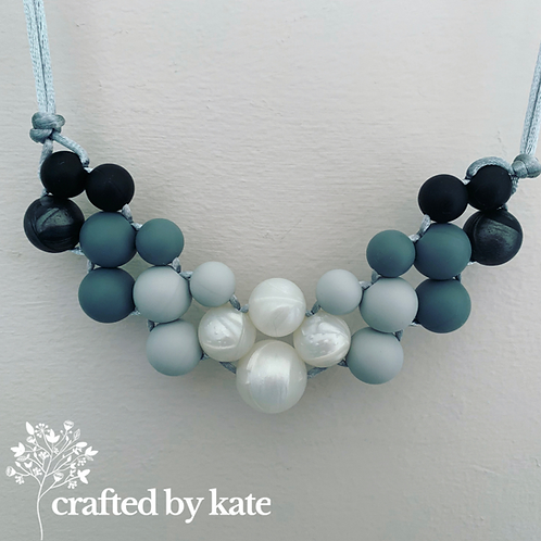 Woven monochrome teething necklace