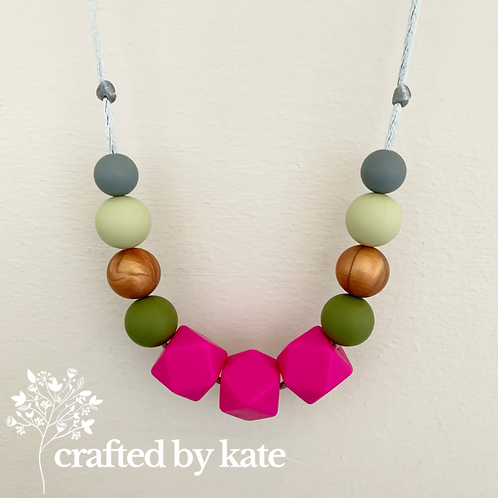 Hot pink and green necklace