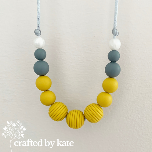 Mustard and grey teething necklace
