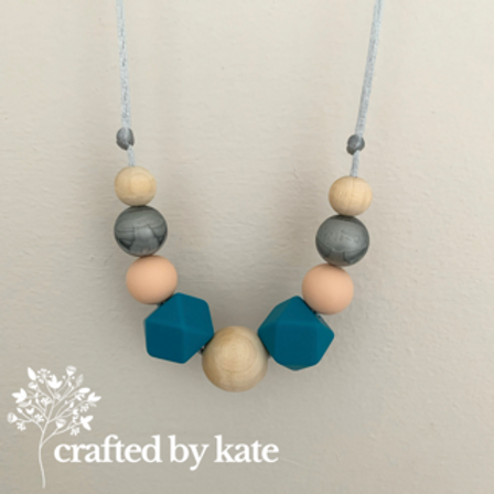 Blue, peach and silver teething necklace