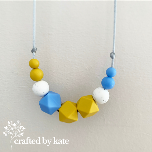 Mustard and blue teething necklace