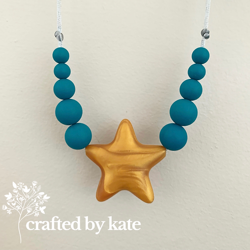 Biscay blue gold star teething necklace