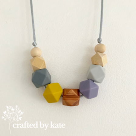 Mustard, grey, bronze, purple teething necklace