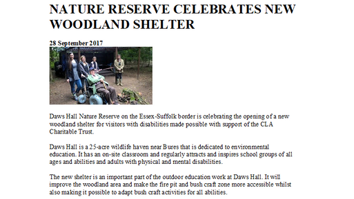 Accessible woodland shelter opens