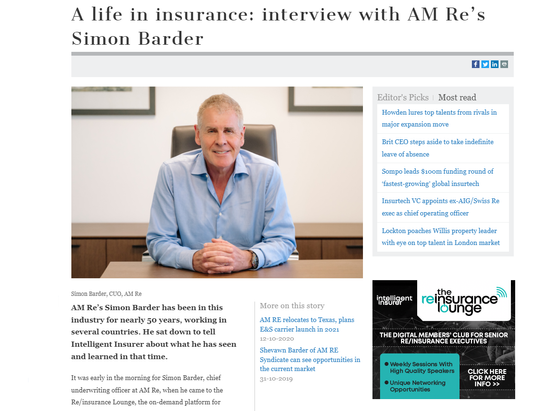 A life in insurance: interview with AM RE's Simon Barder