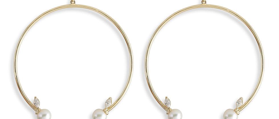 Open Hoop Earrings - White CZ