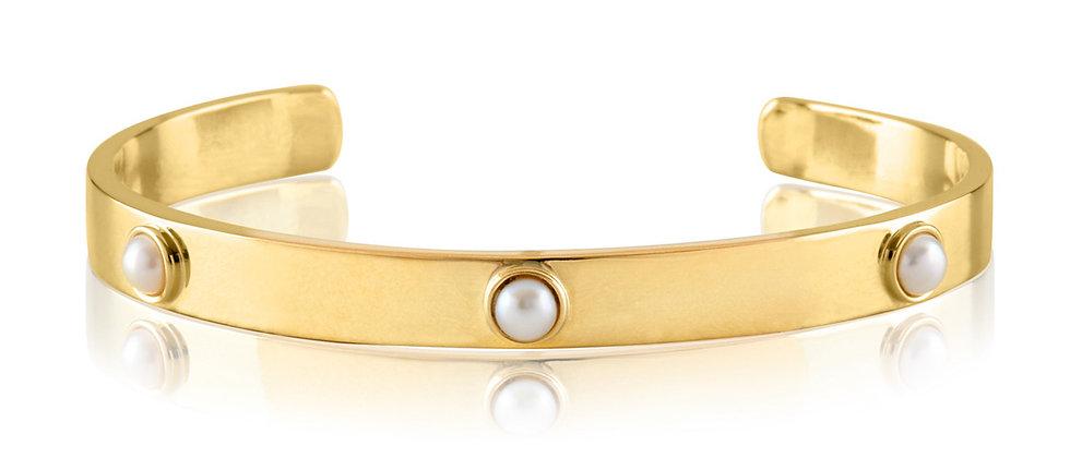 20K Gold Embedded Pearl Cuff