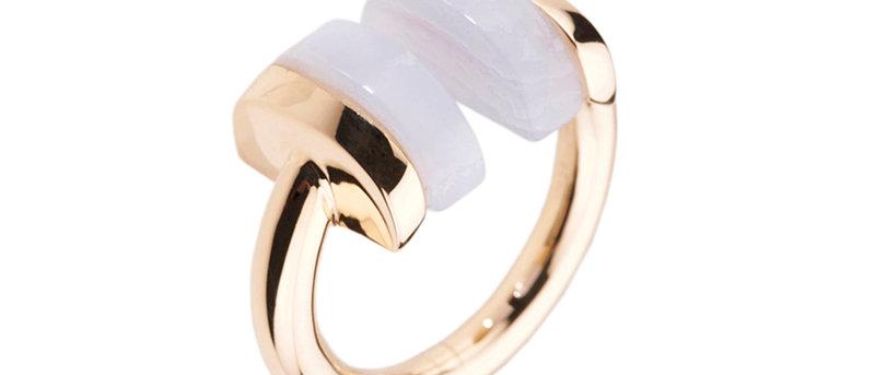 Blue Lace Geometric Ring