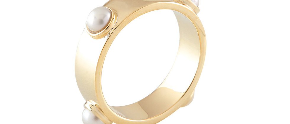 20K Gold Embedded Pearl Ring