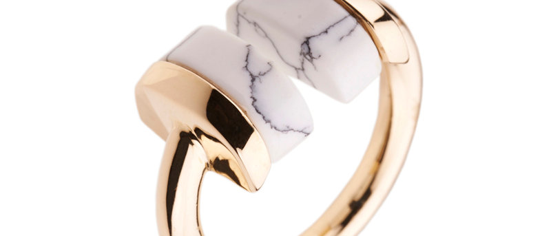 Howlite Geometric Ring