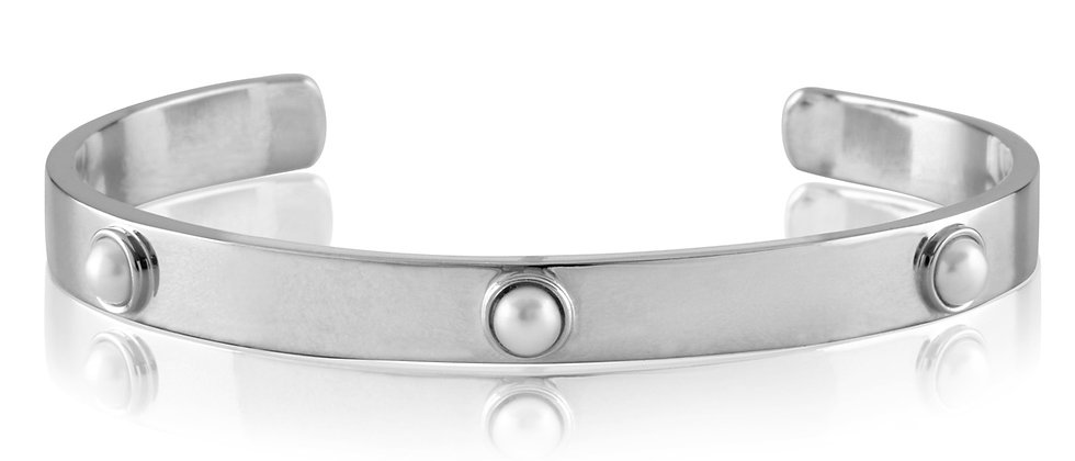 White Gold Embedded Pearl Cuff