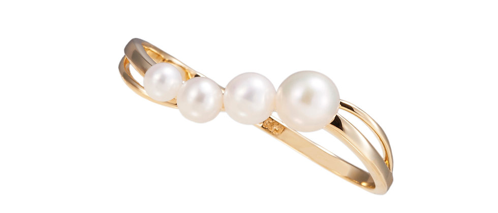 Delphine Pearl Cluster Double Ring