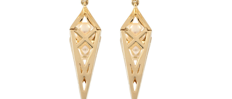 Caged Pearl Trillion Earrings