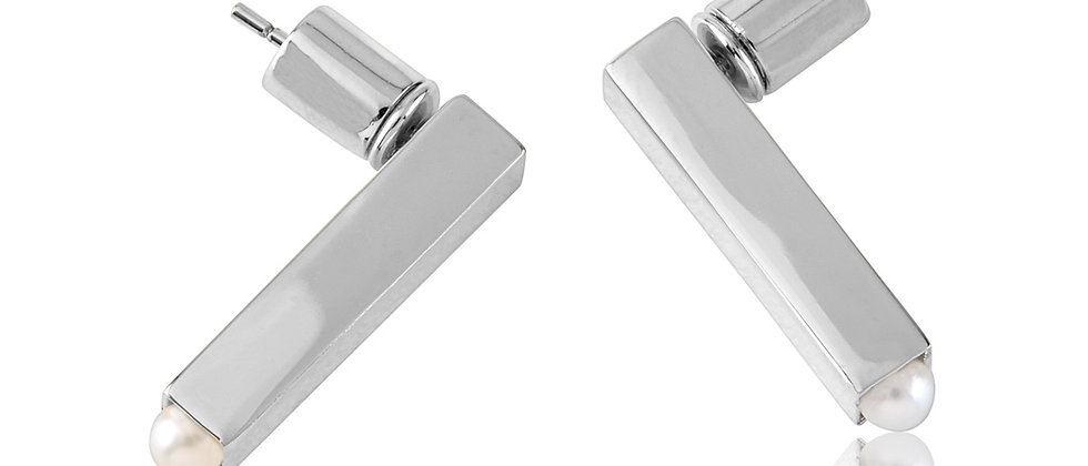 White Gold Drop Bar Earrings