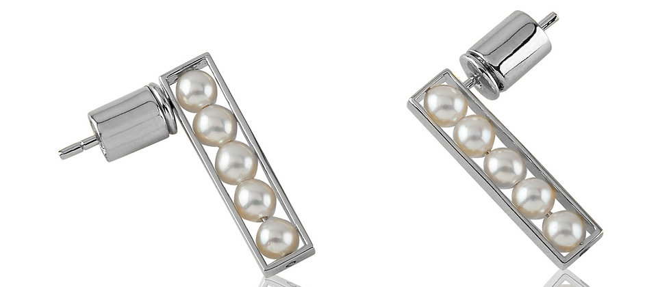 White Gold Pearl Stacked Pearl Earrings