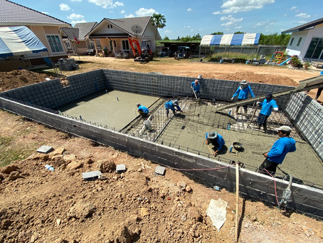 The big pool getting a floor.