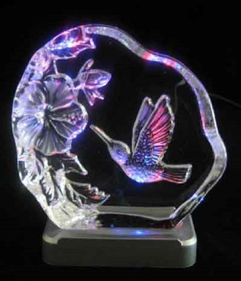 Led Shop Light Humming: Engraved Lead Crystal Humming Bird On LED Color Light Base