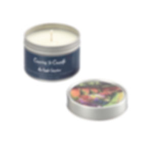 Luxury scented Irish Garden Soy wax candle in a travel tin