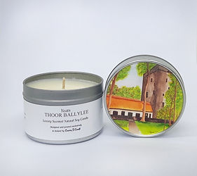 Thoor Ballylee Yeats Tower Gort special commissioned luxury scented soy wax candle original art work on lid