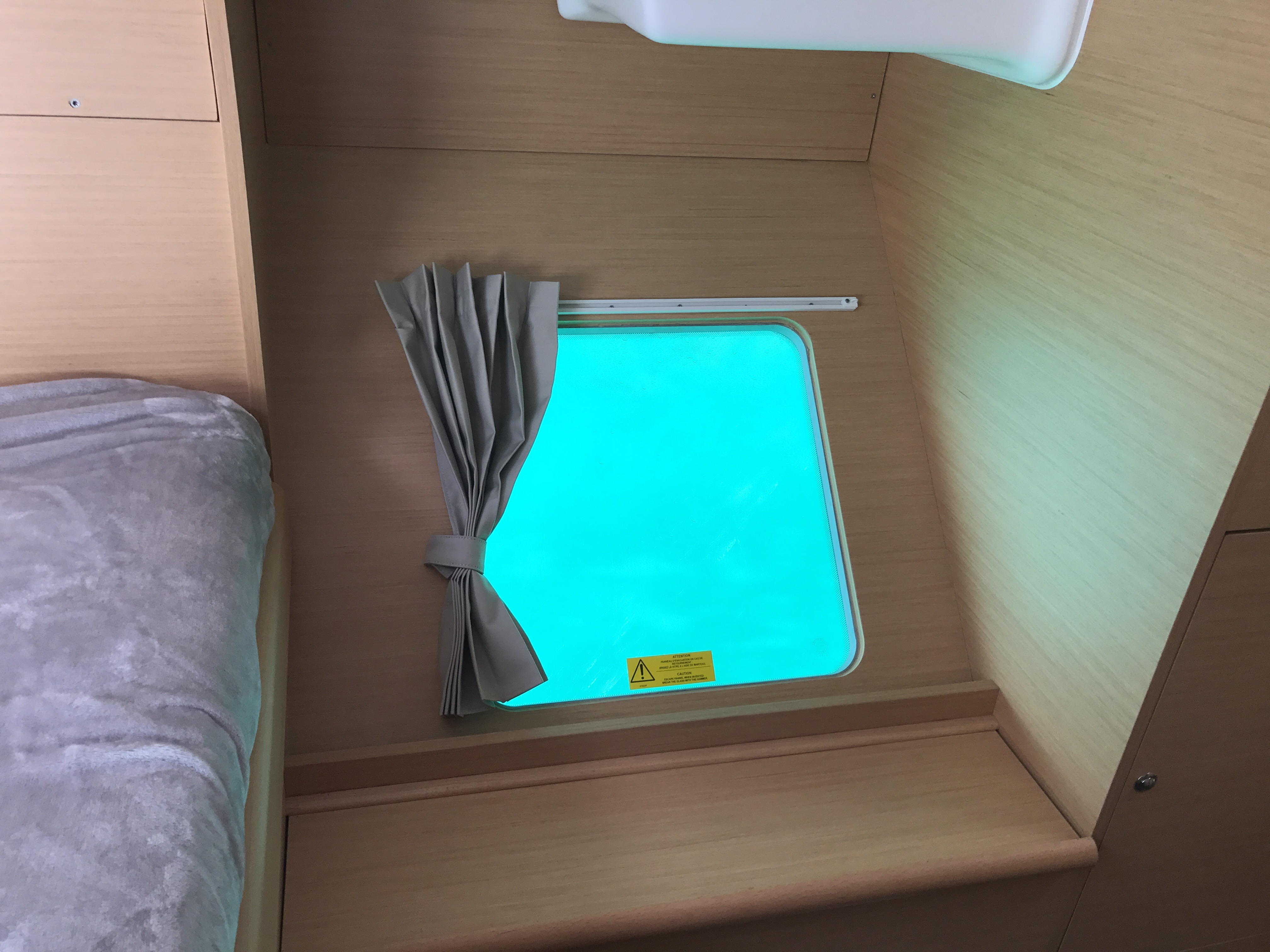 Cabin hatches provide ocean views