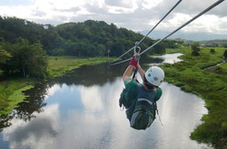 Ziplining over colorful lagoons!
