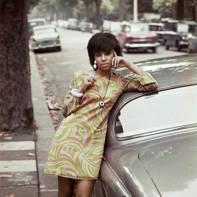James Barnor photograph of Erlin Ibrack in London in the 1960s wearing a retro dress.
