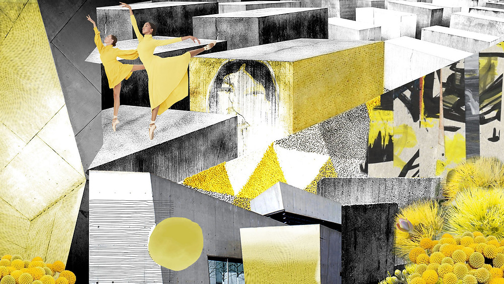 brutalism concrete yellow grey floral contrast moodboard concept