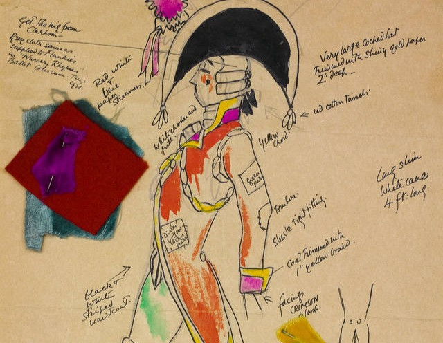 illustration of a character with annotations of costume design and fabrics