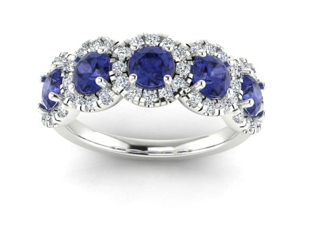 Tanzanite and Diamond custom made gold ring.