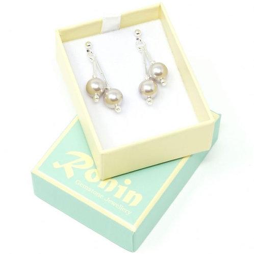 Ronin Gemstone Drop Earrings Together Pearl Bead Earrings