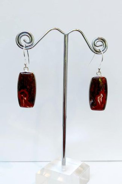 Seam Agate from Morocco Sterling Silver Drop Earrings