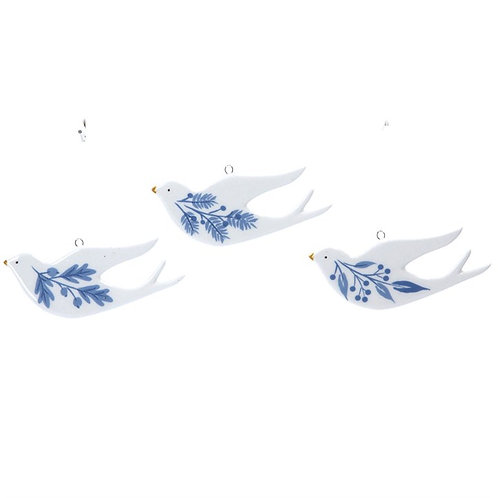Gisela Graham Blue & White Ceramic Dove Decorations - set of 3