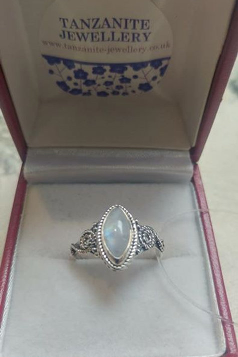 Moonstone Marquise Cut Sterling Silver ring