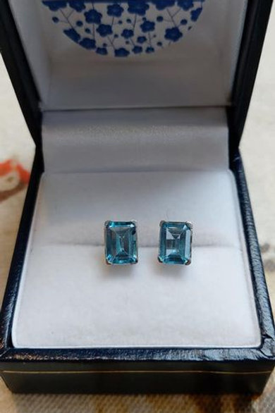 Blue Topaz Rectangle prong set stud earrings in Sterling Silver