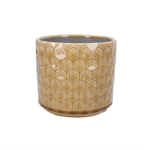 Gisela Graham Small Ceramic Mustard Honeycomb Pot Cover
