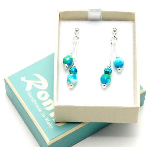 Ronin Gemstone Drop Earrings Turquoise Dyed Jade