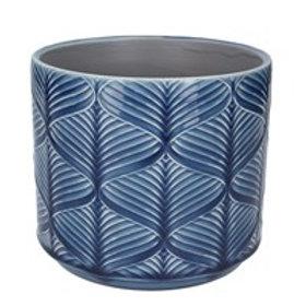Gisela Graham Small Ceramic Navy Wavy Pot Cover