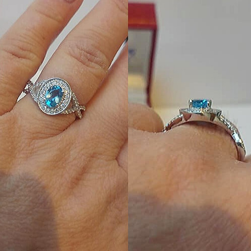 Topaz Blue Sterling Silver Dress ring