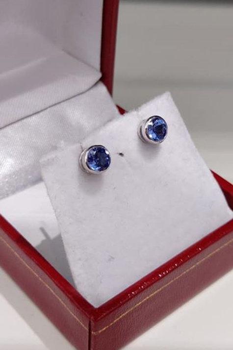 Tanzanite 1ct Bezel Set Earrings in Sterling Silver