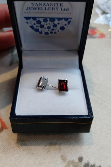 Garnet rectangle cut bezel set stud earrings in Sterling Silver