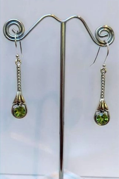 Peridot Sterling Silver Drop Earrings