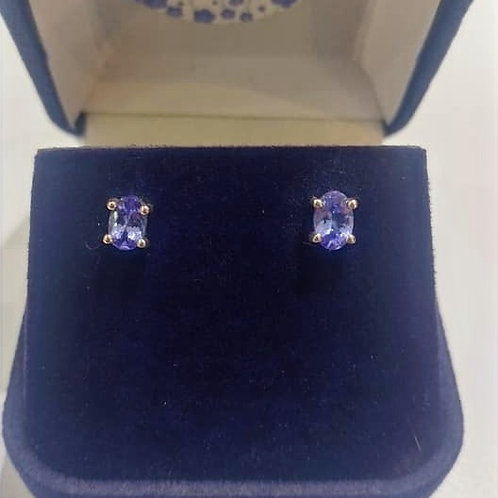 AAAA Grade Tanzanite oval cut earrings