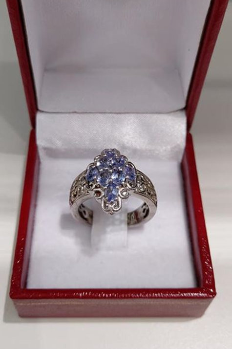 Tanzanite Sterling Silver Ring with Intricate Detailing