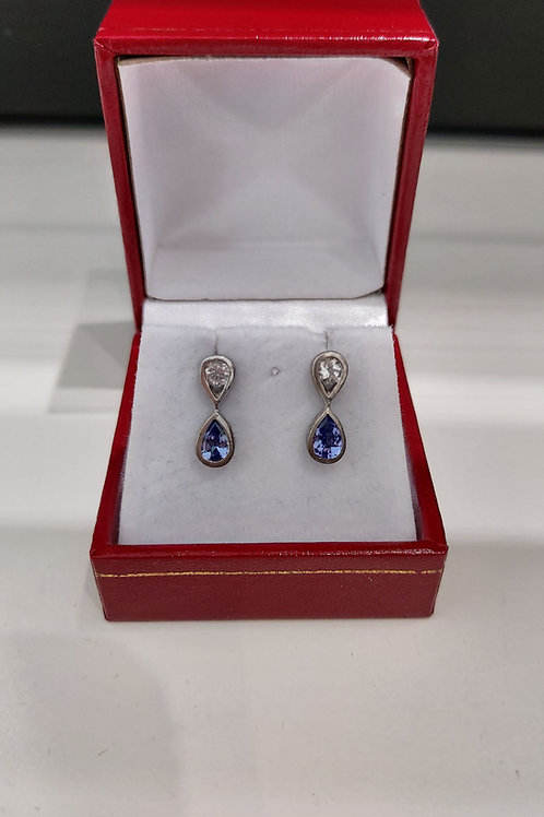 Tanzanite and White Topaz Sterling Silver earrings