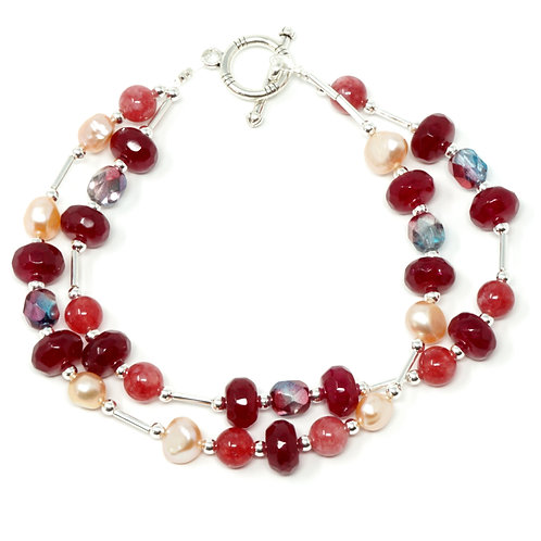 "Ronin Gemstone 7.5"" Bracelet Rosehip with Jade, Freshwater Pearls, Czech Beads"